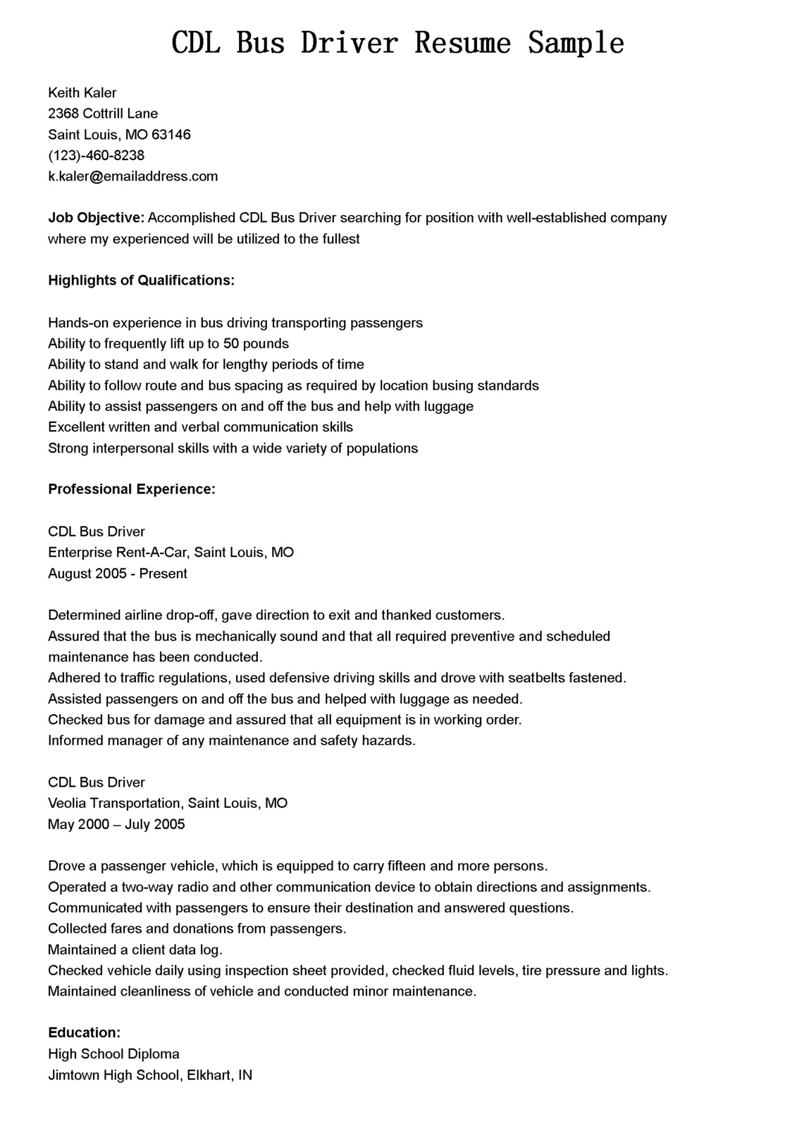 Driver Resumes: CDL Bus Driver Resume Sample