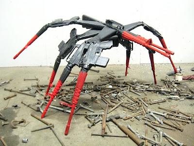 spider made out of m-16 rifles gun art