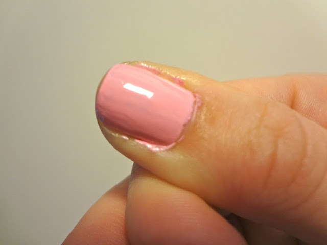 Close up of two coats of Pink Blink by Sally Hansen