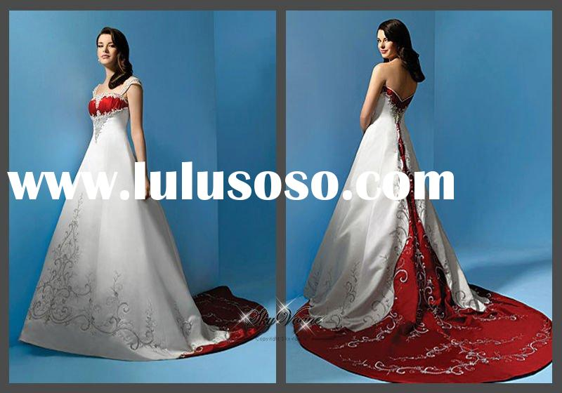 SHE FASHION CLUB: Srapless Red And White Wedding Dresses