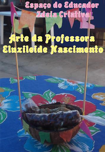 Enfeite de mesa com casca de coco Festas Juninas