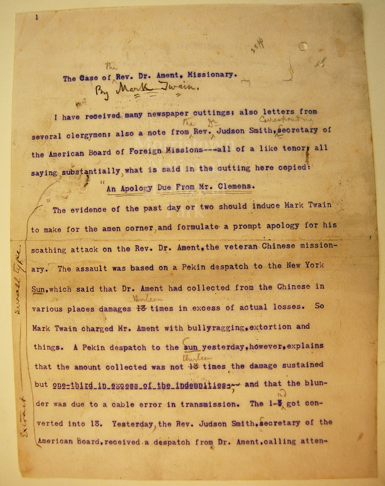 morristown national historical park museum and library featured featured manuscript edited mark twain article