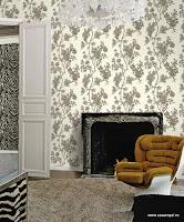 Roberto Cavalli, Pret Tapet, Modele Tapet, Montaj Tapet, model floral crem pe alb
