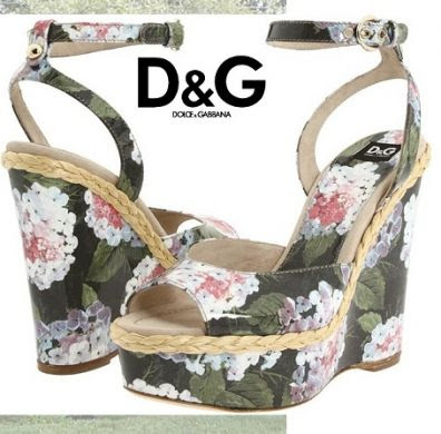 dg green floral wedges