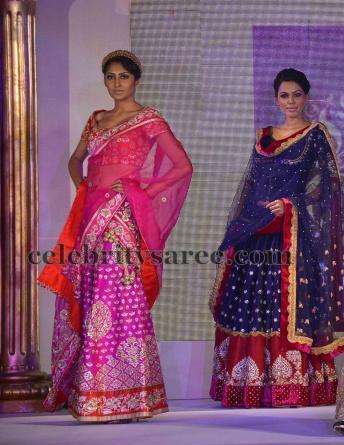 Pink Banaras Sangeet Half Saree