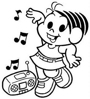 Desenho - Mônica Ouvindo Música - Colorir