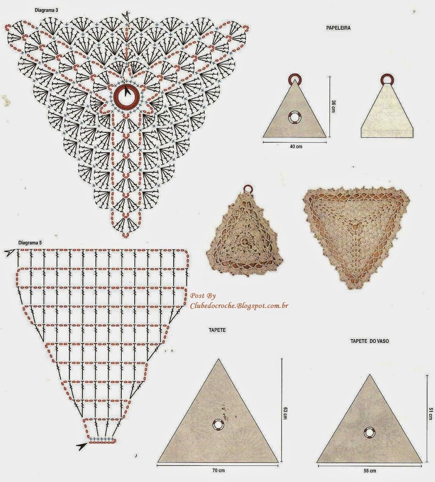Clube do Crochê: Jogo de Banheiro Triangular (com gráfico) #704338 1426x1579 Acessorios Banheiro Online