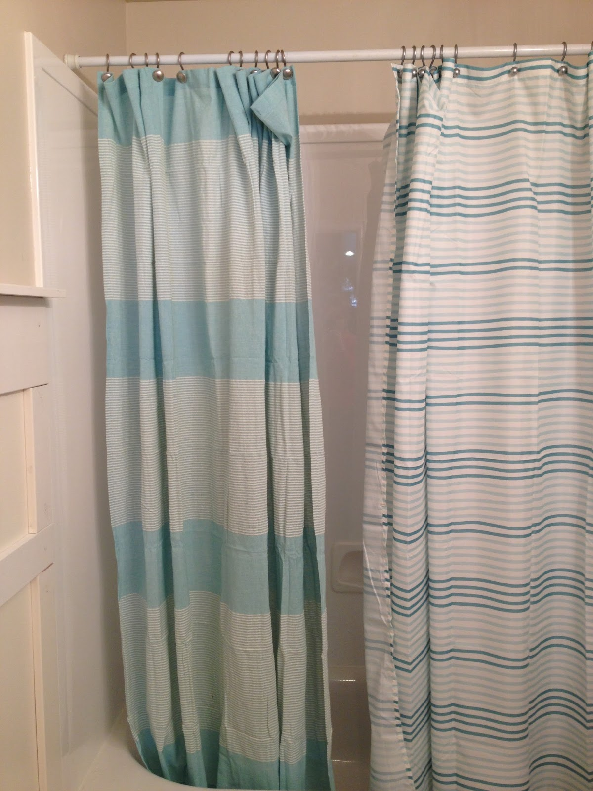 Striped Aqua Shower Curtains