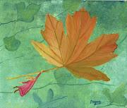 Esta hoja de otoño la pintó mi mamá para mi caja de té, en base a una postal . hoja de otoã±o