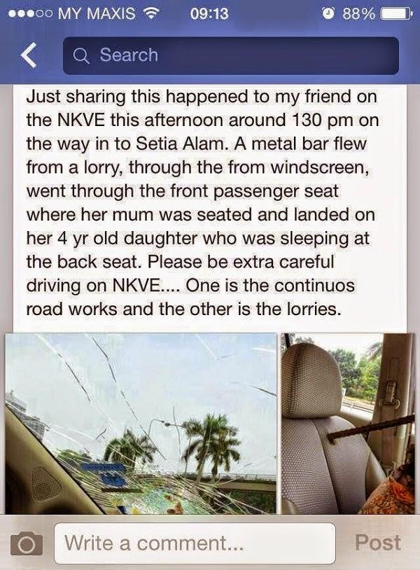 sangat bahaya batang besi  Besi Melayang Di NKVE Tembus Cermin & Kusyen Kereta (5 Gambar)