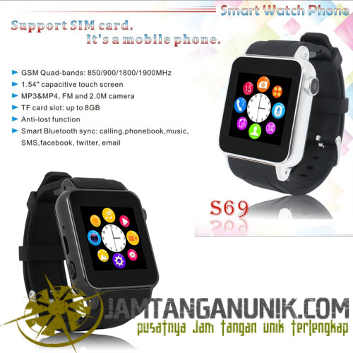 jam tangan pintar smartwatch gsm phone with camera 2mp anti maling sleep monitoring music sync pedometer