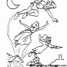 Free printable walt disney characters peter pan coloring for kids ...