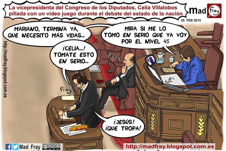 Viñeta: La vicepresidenta del Congreso jugando a vídeo juego en plano debate, ¡mandarme vidas!