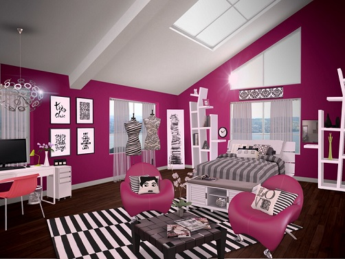 10 dormitorios en color fucsia colores en casa for Decoracion para pared fucsia