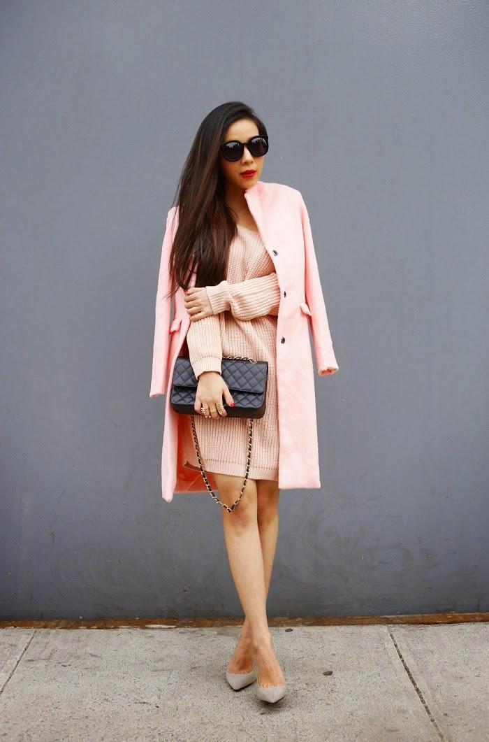 Missguided boyfriend pink coat, missguided off shoulder pink sweater, Karen walker super duper sunglasses, ysl lipstick, Chanle classic flap bag, schutz heels, baublebar ring, marc jacobs, street style, pink outfit, spring outfit, fashion blog