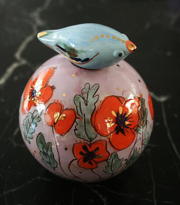 """Vase à Oiseau """" Les coquelicots """""""