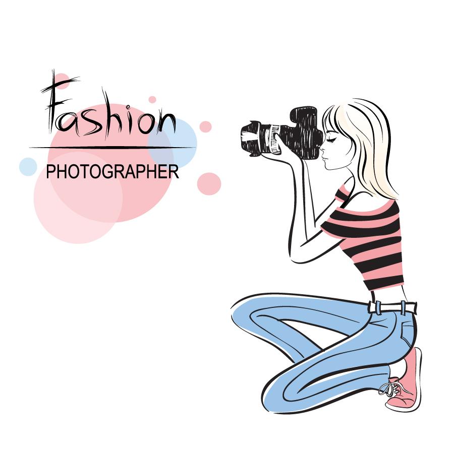 手書きの女性カメラマン Hand-painted beautiful woman photographer イラスト素材