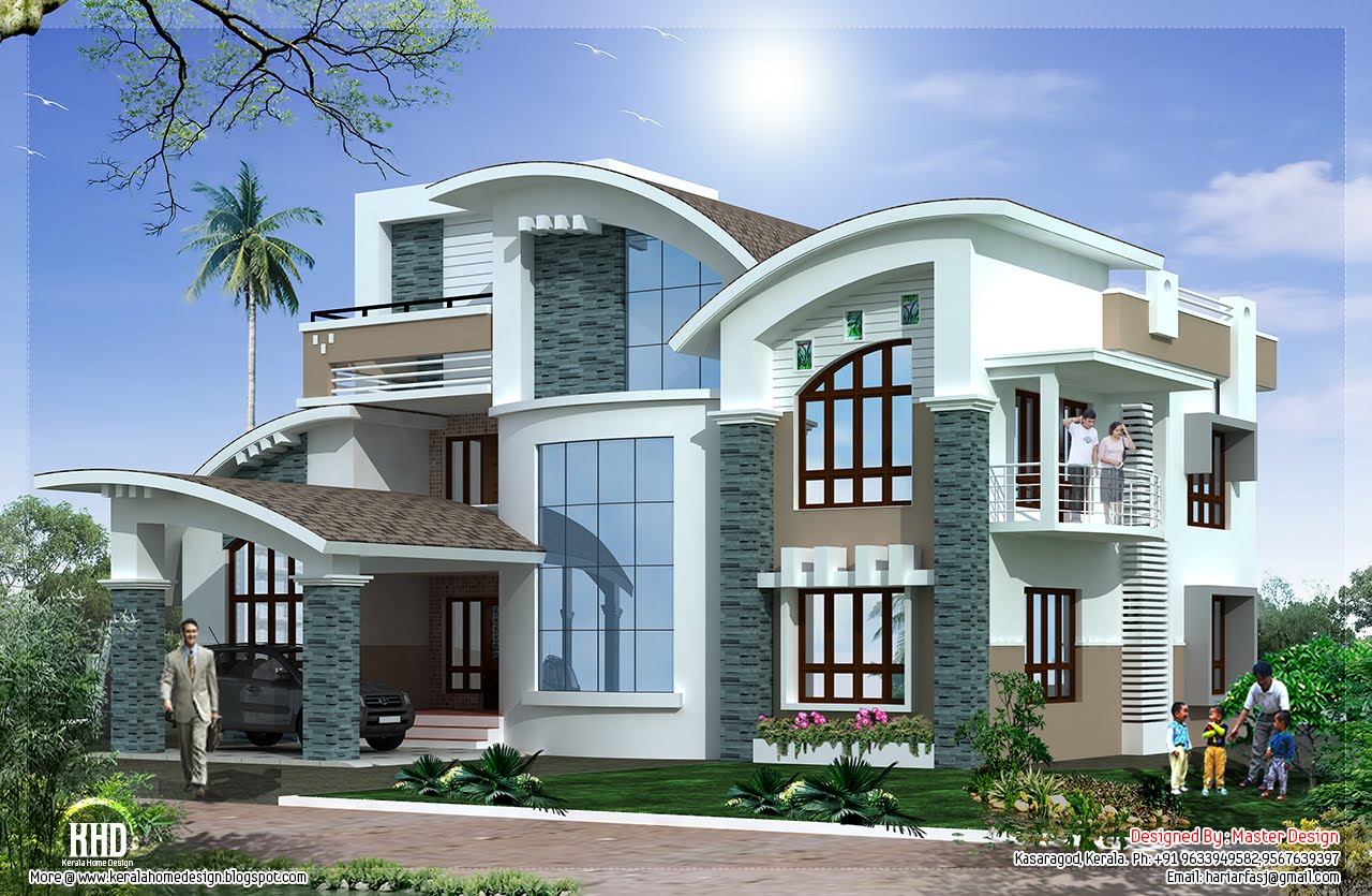 Modern mix luxury home design kerala home design and for Modern luxury home design