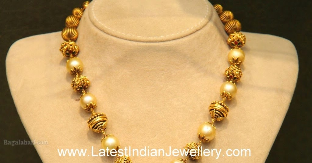 Malabar Gold Temple Jewellery With Pearls