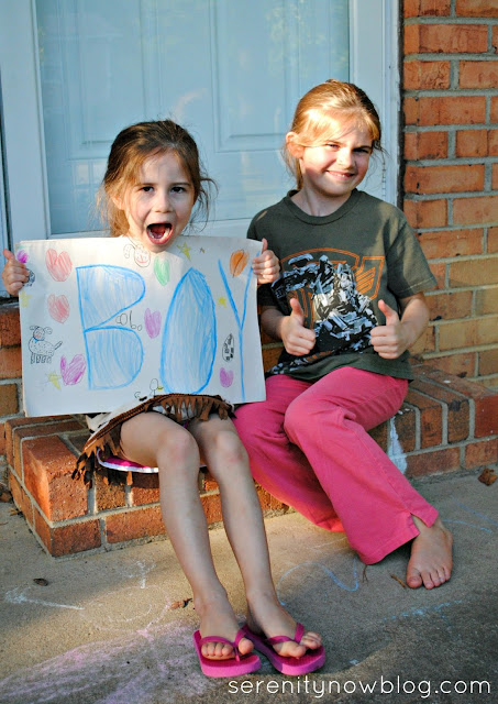 Easy Photo Baby Gender Reveal with Siblings, from Serenity Now