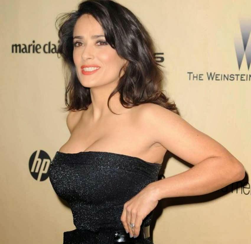 Salma Hayek Hot Black Dress at Golden Globe Awards