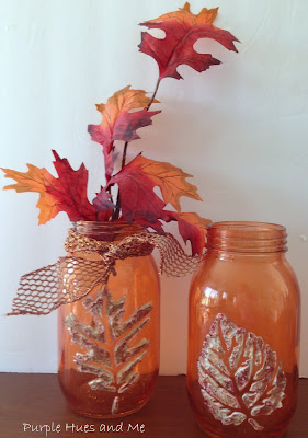 stenciled dimensional leaf mason jars diy