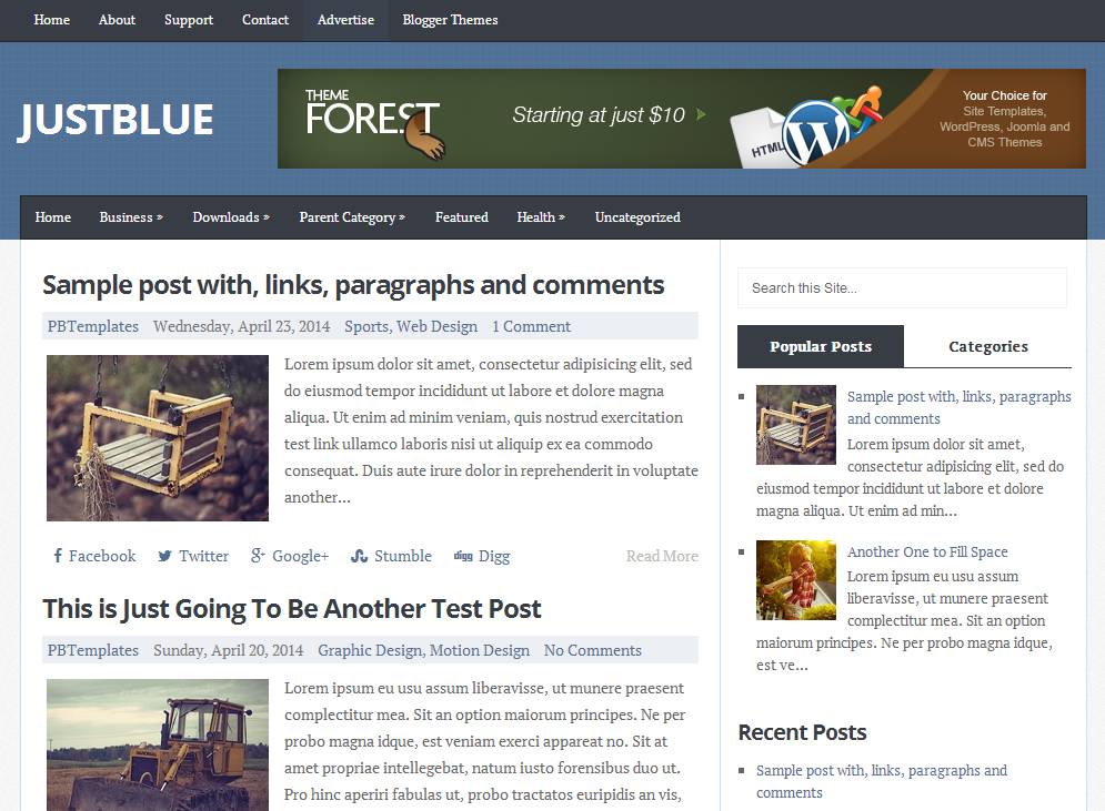 Share JustBlue Blogger Template