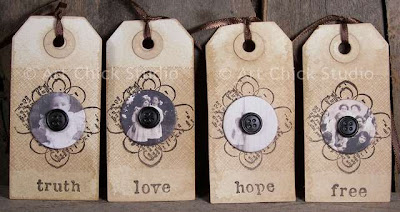 Vintage Photo Button Altered Tags