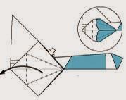 Bước 14: Từ vị trí mũi tên ta mở lớp giấy ra và kéo xuống đuôi (về bên trái) của tờ giấy.