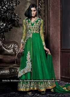 Cream n Green Lehenga Cum Straight Pant Suit / Green Net Center Slit Anarkali Suit