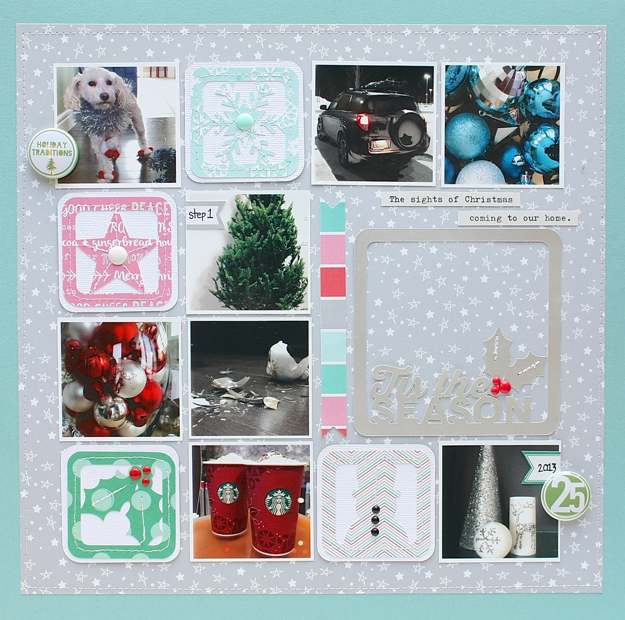Christmas Scrapbook Page by Sherri Funk using Christmas Cheer & Winter Wishes Digital Cut Files by 17turtles