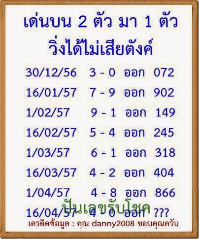 Thai Lotto Magical Exclusive Papers Gift 16 April 2014