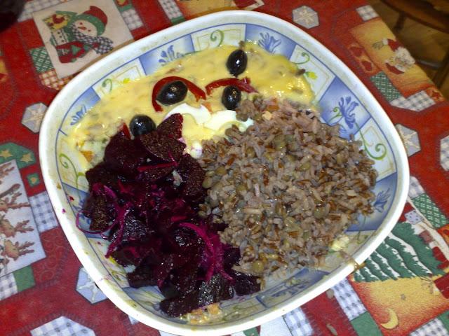 sfecla rosie, orez rosu, salata boeuf