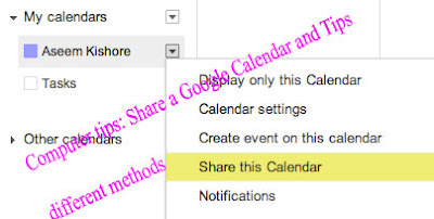 Computer tips: Share a Google Calendar and Tips different methods