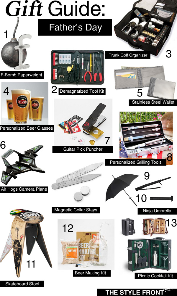 Father's Day Gift Guide, F Bomb Paperweight, Personalized Beer Glasses, Gold Organizer, Beer Making Kit, Skateboard Stool, Grilling Tools, Ninja Umbrella, Air Hogs Camera Plane, Magnetic Color Stays, Guitar Pick Puncher, e