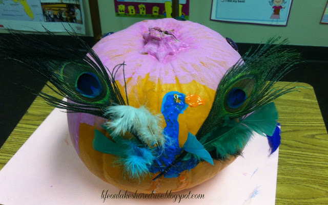 "alt=""No Carve Pumpkin Decorating Ideas peacock"""