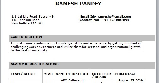 latest resume format for freshers