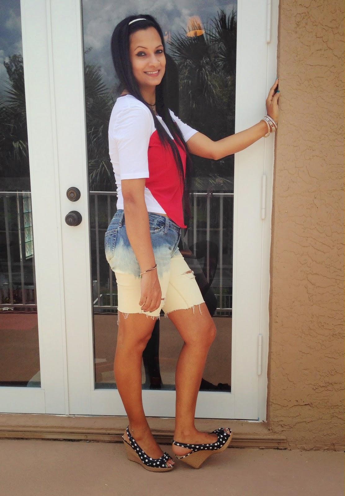 Red Heart, yoyomelody, ripped shorts, bleached shorts, polka dot wedges, women fashion, cheap fashion