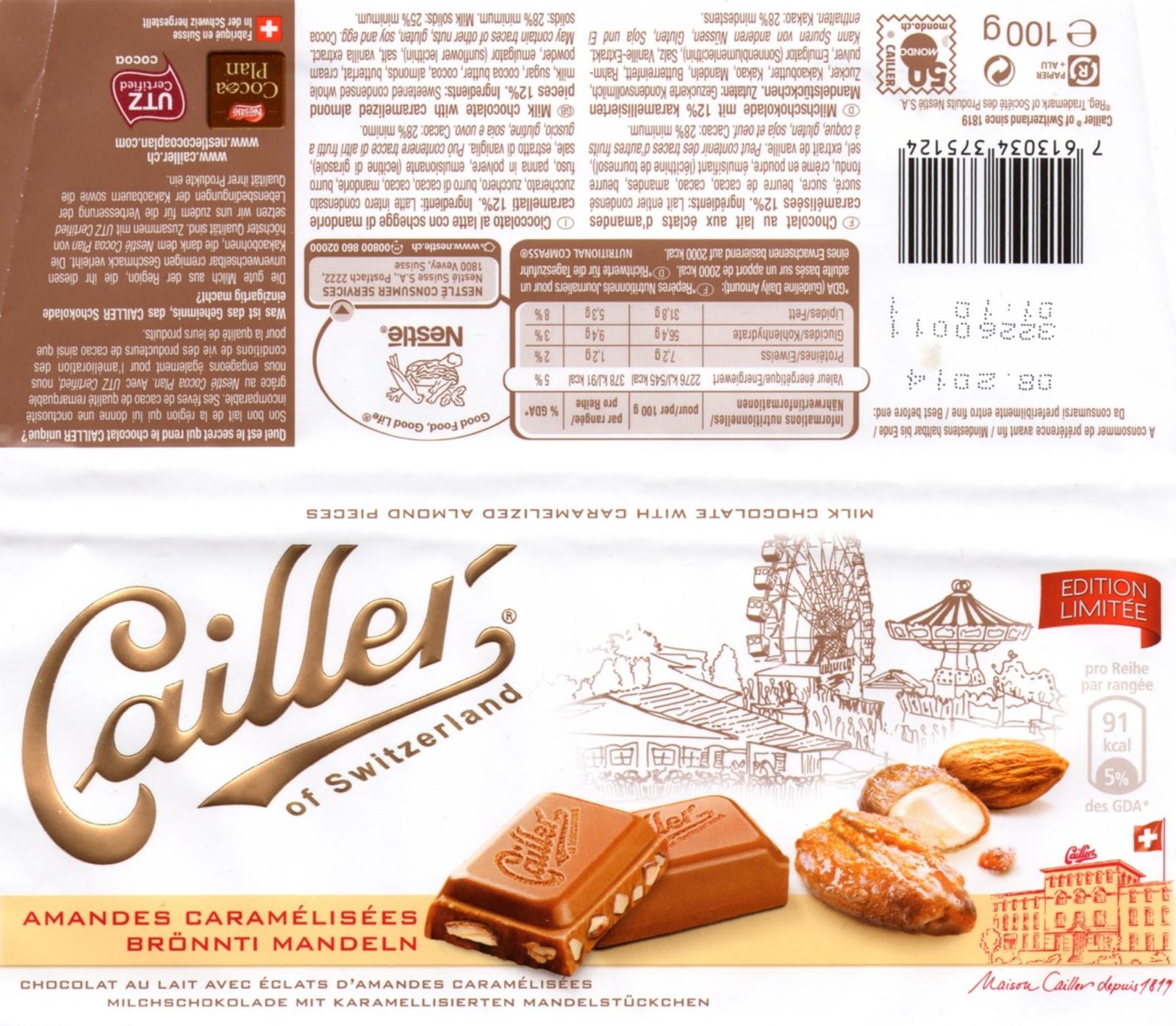 tablette de chocolat lait gourmand cailler lait amandes caramélisées