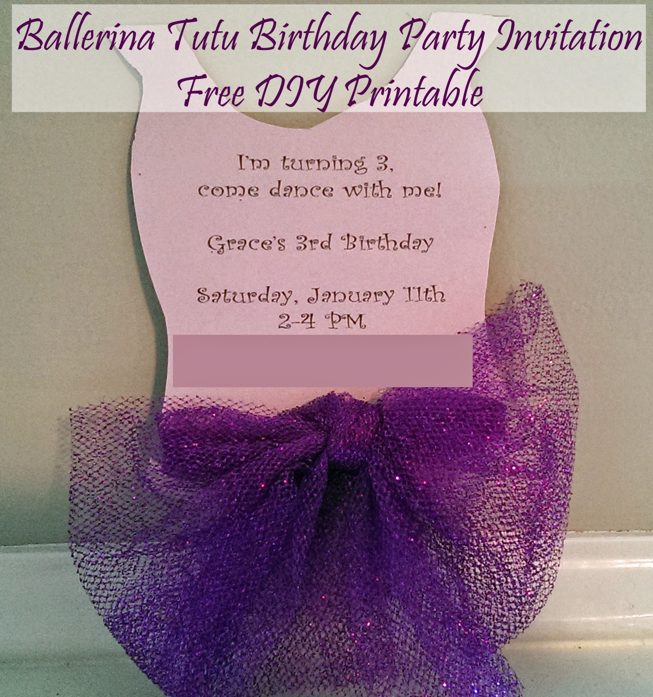 DIY Ballerina Tutu Invitation