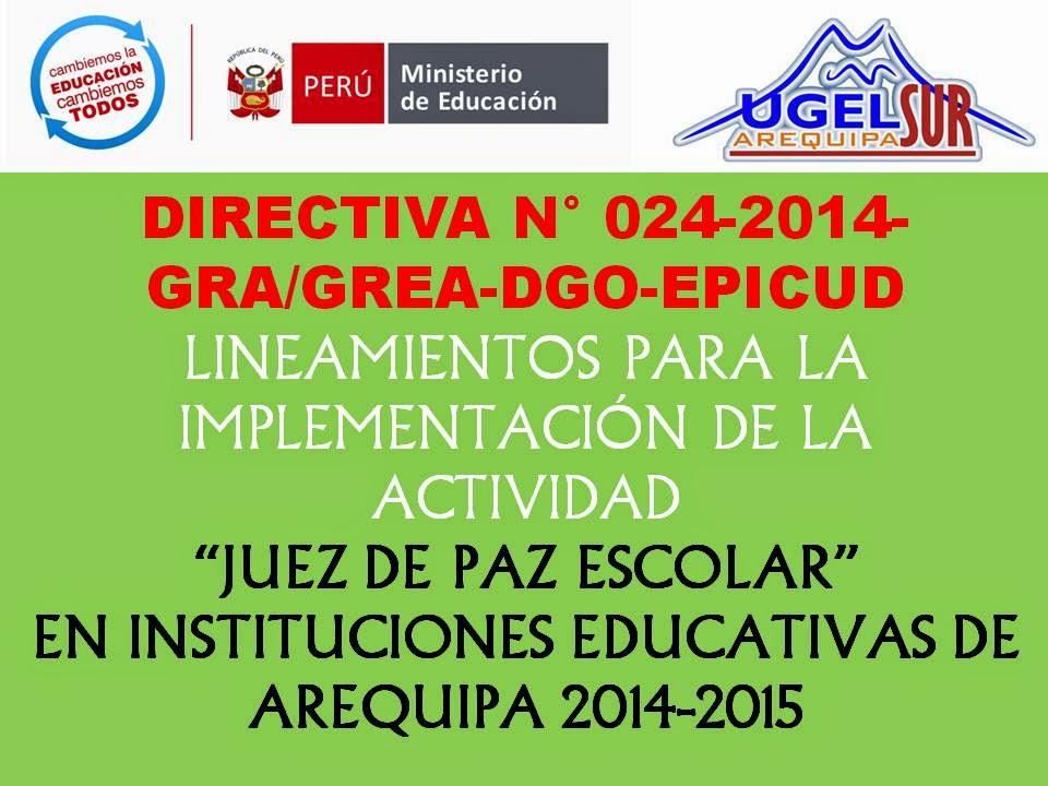 Directiva n° 024 Elección Juez de Paz Escolar.