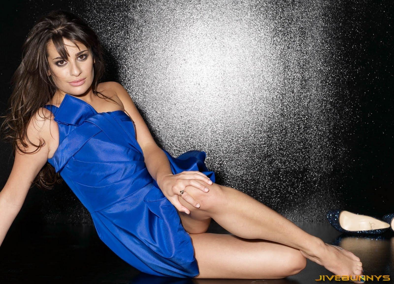 Photo lea michele in sapphire blue strapless bubble satin mini dress
