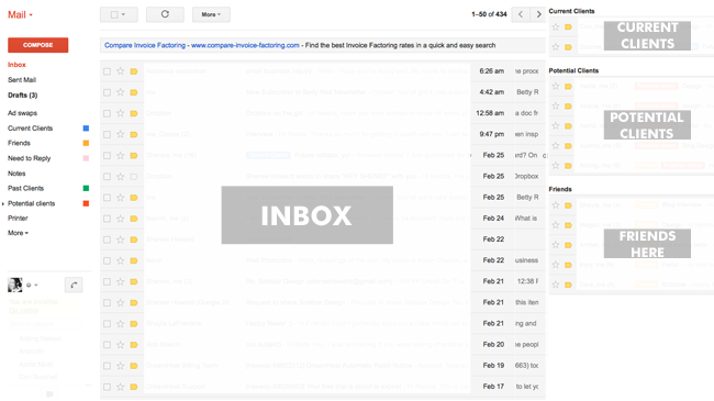 betty red design, gmail, how I organize my gmail inbox, gmail, multiple inboxes, 