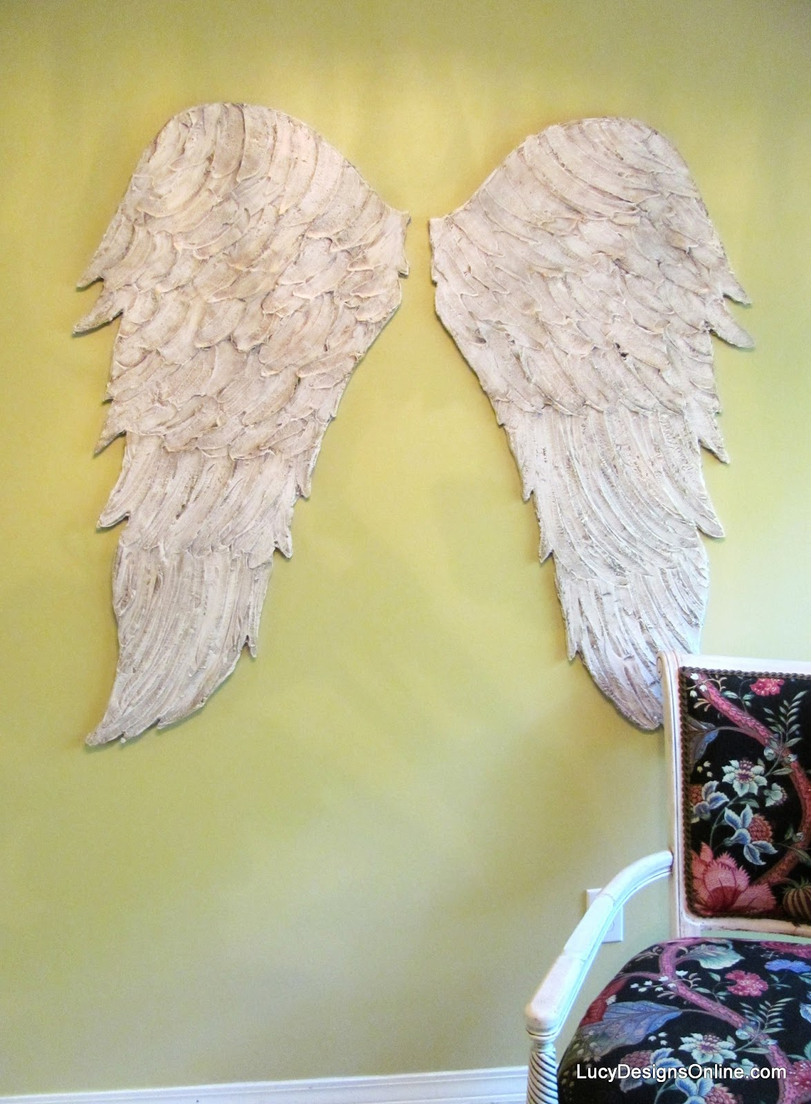 Wood angel wings wall art large carved look wooden angel for Angel wall decoration