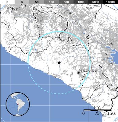 Epicentro sismo 6,1 grados Peru, 07 de Junio de 2012
