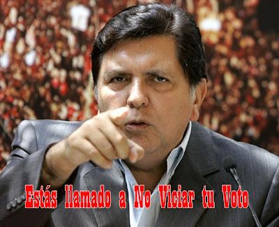 Alan garcia llama a no viciar el voto en elecciones de Peru