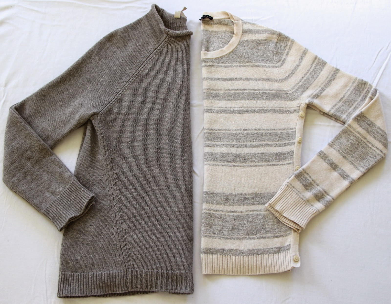 grey and beige sweaters
