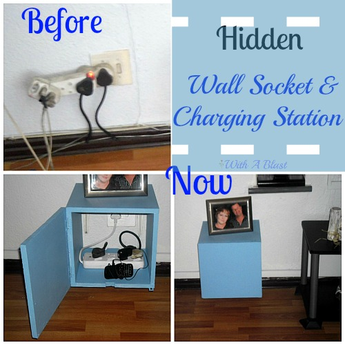 Hidden Wall Socket ~ Quick and easy DIY fix for those open, ugly sockets and this adds storage as well #Storage #Organizing
