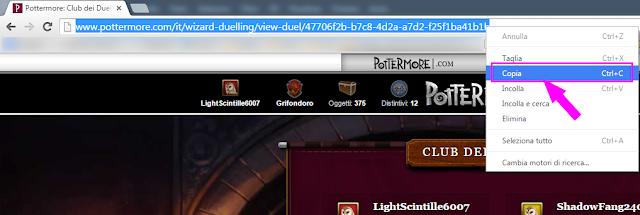 Copiare l'URL di un duello