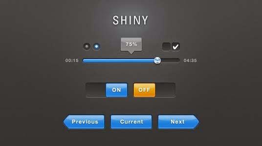 Shiny Blue UI PSD